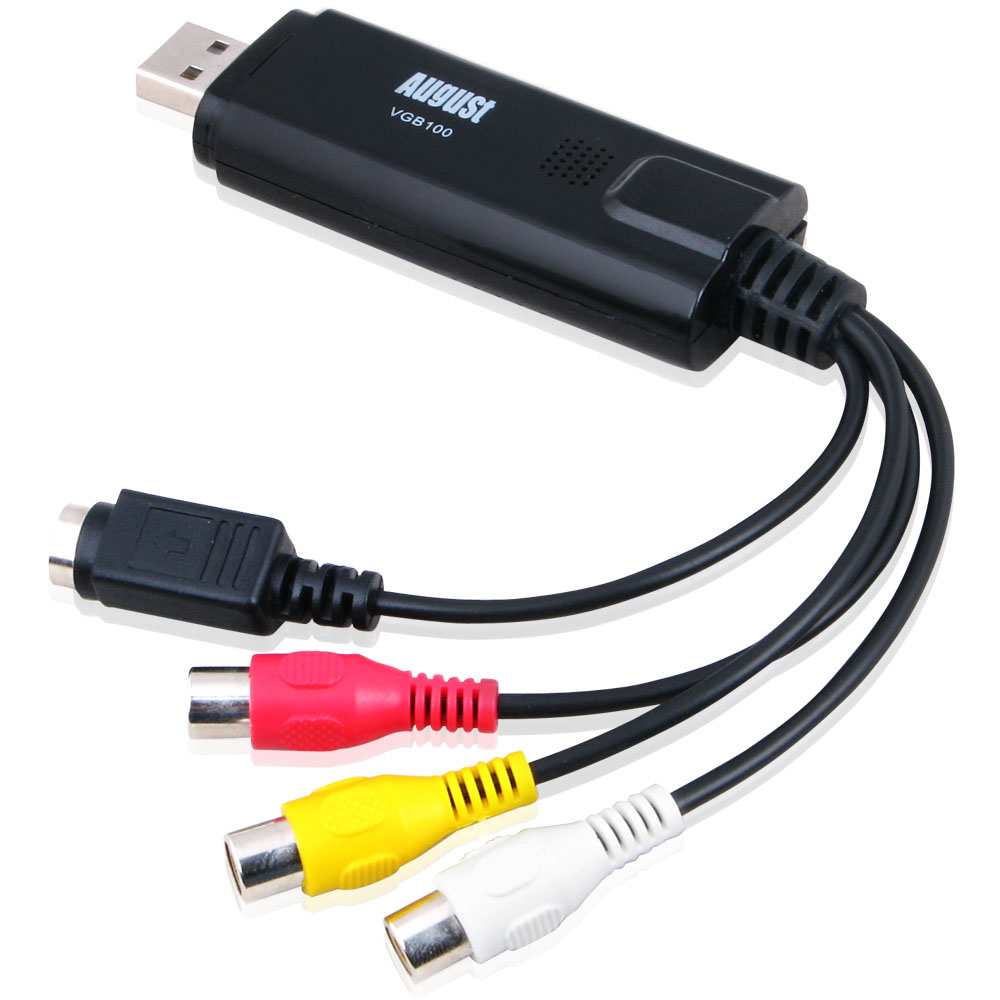 USB 2.0 Audio Video Grabber – August VGB100 – VHS Videos/Camcorder an PC/Laptop digitalisieren – funktioniert für fast alle Anschlüsse (Scart, S-Video, Cinch) – Für Windows 10 / 8 / 7 / Vista / XP