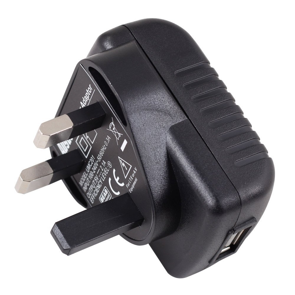 2.0A UK Mains Plug to USB Adaptor