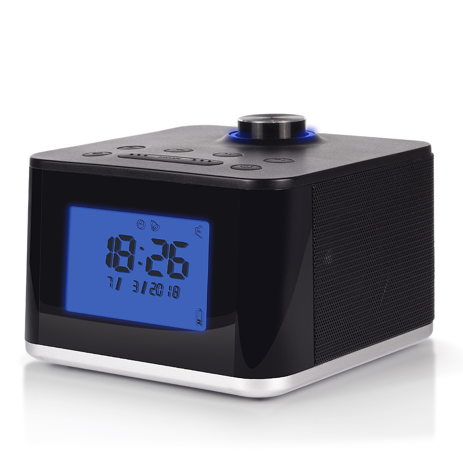 Clock Radio with MP3 Alarm - August MB315 - Wake to your Favourite Music from USB and SD or FM Station - Rechargeable Portable Speaker